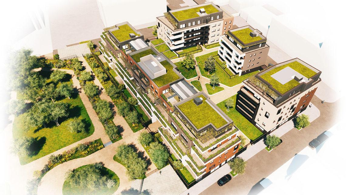 Vue aérienne les jardins du Square à Belfort